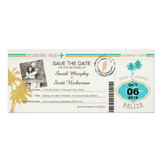 Save the Date Boarding Pass to Belize 10 Cm X 24 Cm Invitation Card