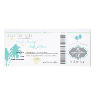 Save the Date Boarding Pass to Hawaii 10 Cm X 24 Cm Invitation Card