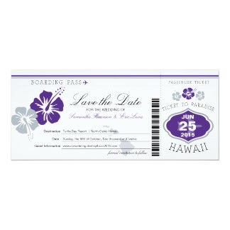 Save the Date Boarding Pass to Hawaii Card
