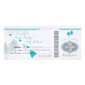 Save the Date Boarding Pass to Hawaii Personalized Invites