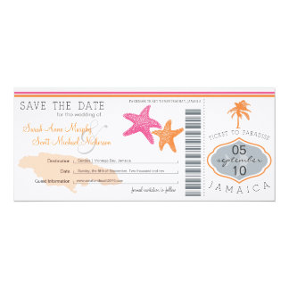 Save the Date Boarding Pass to Jamaica 10 Cm X 24 Cm Invitation Card
