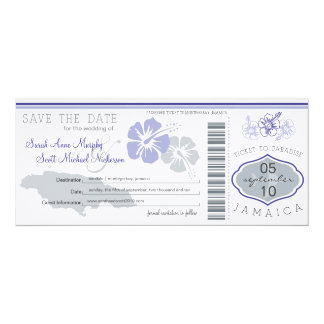 "Save the Date Boarding Pass to Jamaica 4"" X 9.25"" Invitation Card"