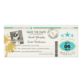 Save the Date Boarding Pass to Mexico 10 Cm X 24 Cm Invitation Card