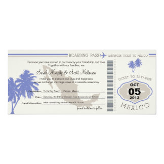 Save the Date Boarding Pass to Mexico Personalized Invites