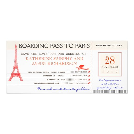 save the date boarding pass to paris france personalized invitations