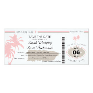 Save the Date Boarding Pass to Puerto Rico 10 Cm X 24 Cm Invitation Card