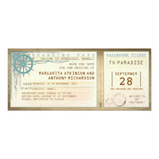 save the date boarding pass-vintage tickets 10 cm x 24 cm invitation card