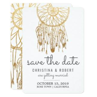 Save The Date Bohemian Dreamcatcher Faux Gold Foil Card