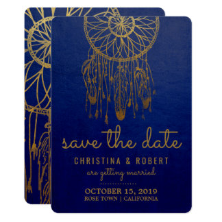 Save The Date Boho Dreamcatcher Faux Gold Foil Card