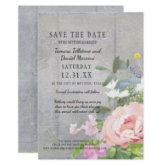 Save the Date BOHO Rustic Floral Wood Barn Peonies Card