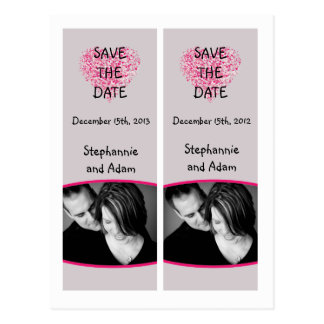 Save the Date Book Mark Favors Pink Floral Petals Post Cards