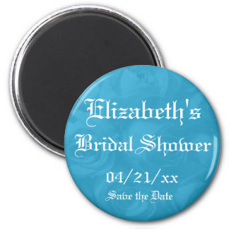 """Save the Date"" Bridal Shower-Bright Blue Roses 6 Cm Round Magnet"