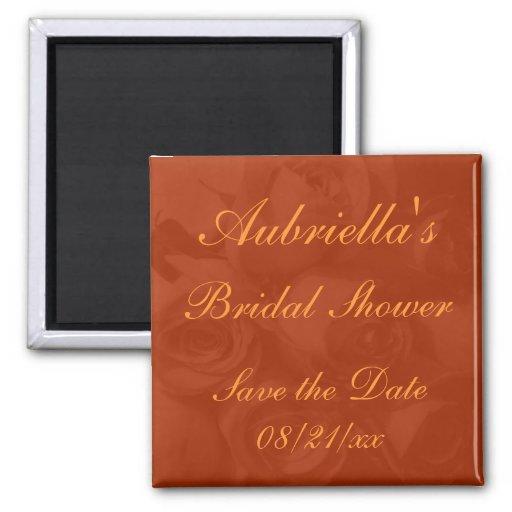 """Save the Date"" Bridal Shower - Roses in Orange[a] Fridge Magnet"