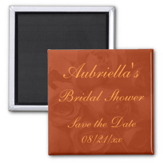 """Save the Date"" Bridal Shower - Roses in Orange[a] Square Magnet"