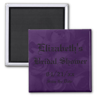 """""""Save the Date"""" Bridal Shower-Royal Purple Roses Square Magnet"""