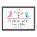 Save The Date Bride and Groom Birds Flat Card Personalised Invites