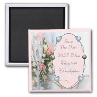 Save The Date Bride & Groom, Doves & Glass Floral Magnet