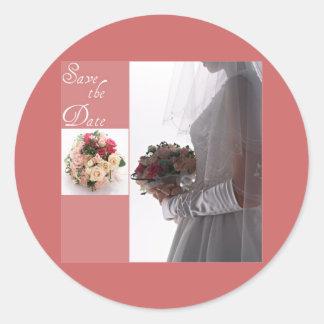Save the date-Bride Round Sticker