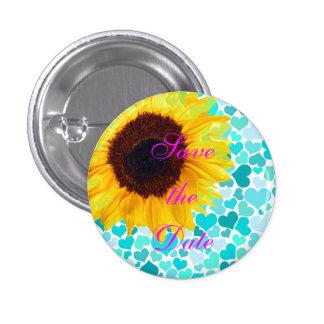 Save the Date Bride Sunflower Wedding Cute Hearts 3 Cm Round Badge