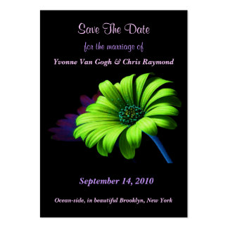 Save The Date Bright Green Daisy III Pack Of Chubby Business Cards