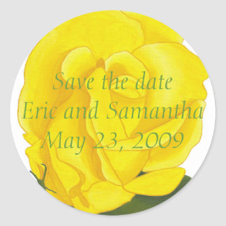 Save the date, Bright Yellow Rose Wedding Stickers