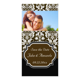 Save the Date ~ Brown and Black Damask Custom Photo Card