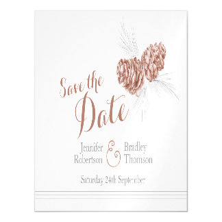 Save the date brown pine cone art magnetic invitations