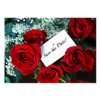 Save the Date Business Card Red Roses Card