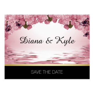 SAVE THE DATE Butterfly Pink Black Gold Wedding Postcard