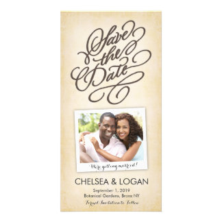 Save the Date   Calligraphy Beige Personalised Photo Card