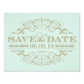 Save the Date Card   Antique Flourish 11 Cm X 14 Cm Invitation Card