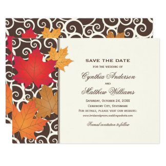 Save the Date Card | Autumn Leaves Theme