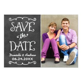 Save the Date Card | Black Chalkboard Charm 13 Cm X 18 Cm Invitation Card