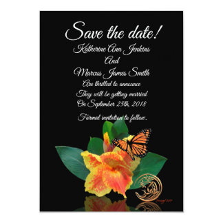 Save the date card canna lily and butterfly