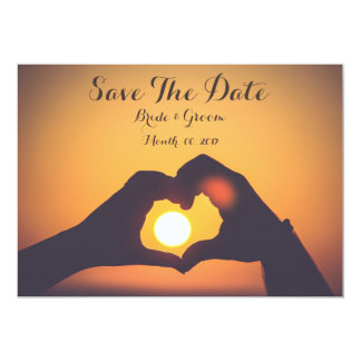 Save the date card, lover's hands, sunset 13 cm x 18 cm invitation card