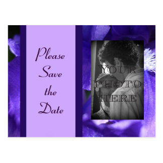 Save the Date Card - Purple Fleur de Lis
