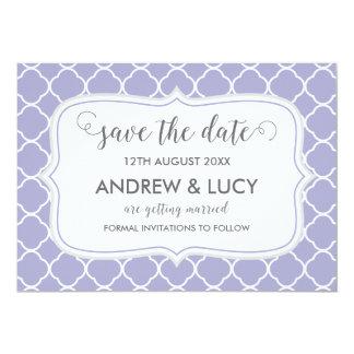 Save the Date Card , Quatrefoil Design
