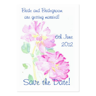 'Save the Date' Card, Romantic Pink Roses Pack Of Chubby Business Cards