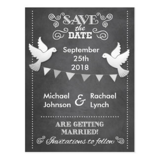 Save the Date Card Rustic Chalkboard Love Birds Postcard