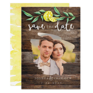 SAVE THE DATE CARD | Rustic Wood Lemon Wedding