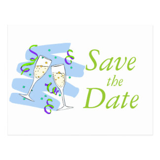 Save the Date Cards Champagne Bride Groom Green Postcards