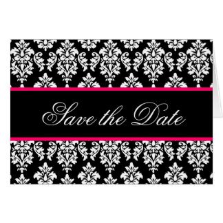 Save the Date Cards Monogram Hot Pink Damask