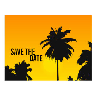 Save the Date Cards Palm Trees Sun Postcard