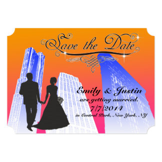 SAVE THE DATE CARDS WITH VIEW OF NEW YORK CITY 13 CM X 18 CM INVITATION CARD