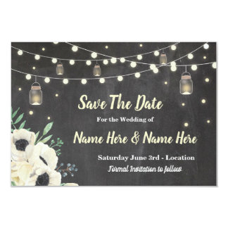 Save The Date Chalk Rustic Fireflies Lights Invite