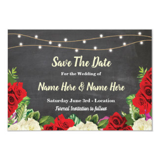 Save The Date Chalk Rustic Red Roses Lights Invite