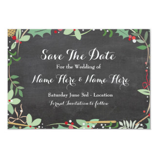 Save The Date Chalk Rustic Winter Holidays Berries 9 Cm X 13 Cm Invitation Card