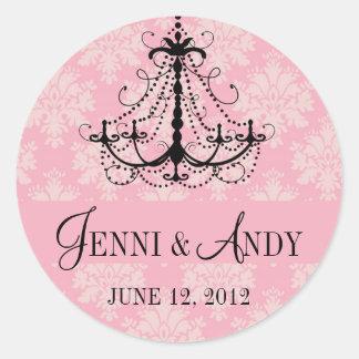 Save the Date Chandelier Names Wedding Sickers Round Sticker