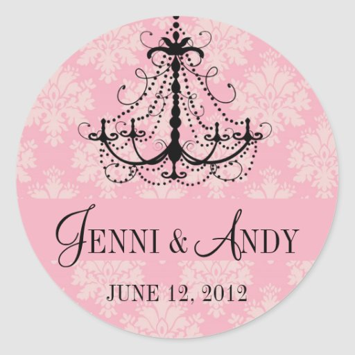 Save the Date Chandelier Names Wedding Sickers Round Stickers