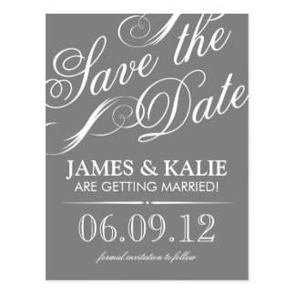 SAVE THE DATE | CHARCOAL GRAY POST CARD